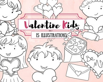 Valentine's Day Kids Digital Stamps - Valentine Illustrations - Hearts and Balloons Clipart - Cute Kid Valentine Clipart - Black and White