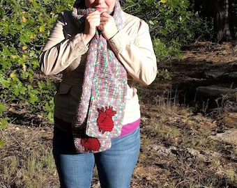 Anatomical Heart Scarf for Men or Women in Variegated Grey Gray Lime Green Hot Blue Bright Pink with Red Human Heart Real Anatomy Science