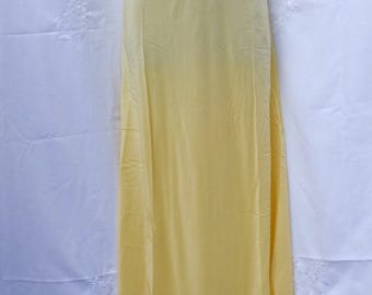 Sunny yellow bias cut lingerie 1940s,silky,sunny,lace,embellished ,maxi length,feminine,honeymoon  dress,