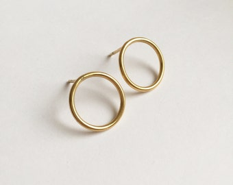 Golden Hoop Earrings/Circle earrings/Stud earringsValentines Gift