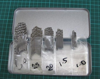 50PC HSS Drill Bit Set for Hobby Craft Model and Jewellery Makers (1mm, 1.5mm, 2mm, 2.5mm, 3mm)
