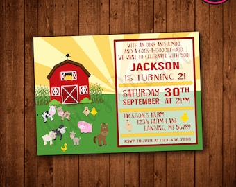 Farm Themed Birthday Invitation (Printable)