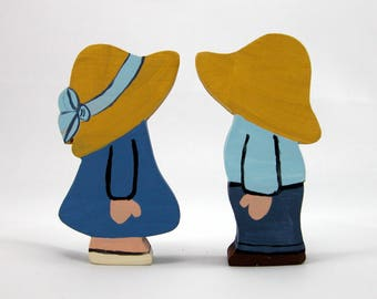 Dutch Boy and Girl, Farm Boy and Girl, Peg Dolls, Little Boy Blue, Little Girl Blue, Country Boy, Country Girl, Country, Wedding Cake Topper