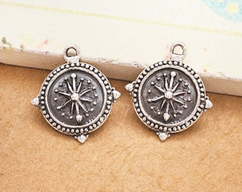 2 of 925 Sterling Silver Compass Printed Charms 12mm. Polish Finished  :tm0180