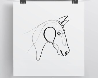 Horse Art Print, Horse Gifts, Equine One Line, Horse Gift Ideas, Horse Portrait, Equine Gift, Horse Art, Minimal Horse Art, Equestrian Art