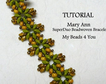 PDF Beading Pattern, Beadwork Bracelet Pattern, Beadweaving Tutorial,Pattern,Seed Bead Tutorial,PDF Superduo Tutorial, Beading Instructions