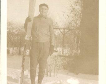 Vintage Photo, Man in Snow Holding Skis, Skier, Black & White Photo, Antique Photo, Old Photo, Found Photo, Vernacular Photo