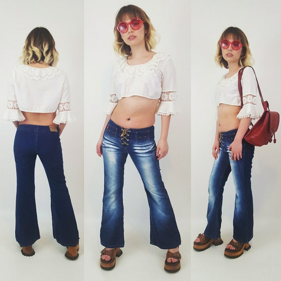 1990s Lace-Up Flared Vintage Jeans - 90s 00s Mudd Low Waisted Corduroy Pants - Dark Wash Blue Jeans Flares 2000s - XS Extra Small Flare Jean