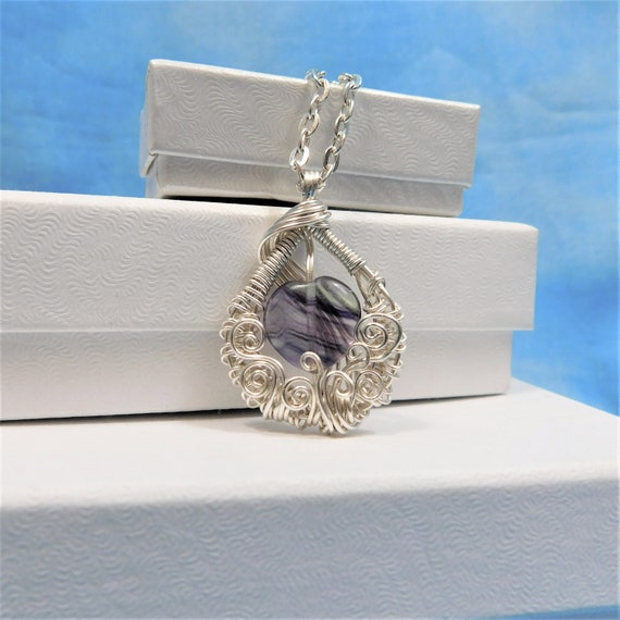 Fluorite Necklace Artisan Crafted Unique Woven Wire Wrapped Purple Gemstone Pendant Wearable Art Jewelry Birthday Present Ideas for Women