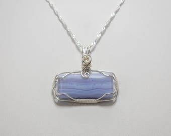 Gorgeous Blue Lace Agate Wire Wrapped Pendant - Wrapped in .925 Sterling Silver