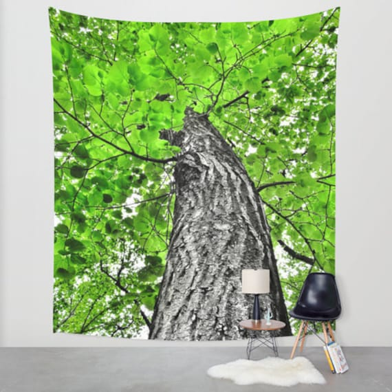 Tree Wall Tapestry, Green Large Size Wall Art, Nature Decor, Fresh, Office, Doctors Office, Woods, Dorm Art, Green Tapestry, Forest Tapestry