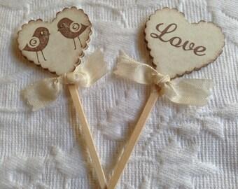 Love Bird Cupcake Picks - Love Cupcake Toppers - Heart Cupcake Toppers - Wedding Bridal Shower Decor - Set of 12