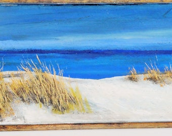Usedom in late autumn oil on fiber painting unique signed