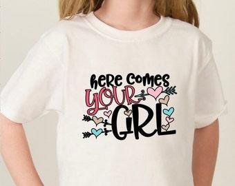 Here Comes Your Girl Flower Girl Shirt Wedding Rehearsal