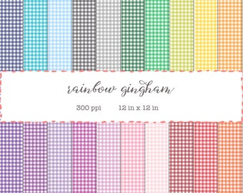 Digital Scrapbook Paper Pack - Rainbow Gingham