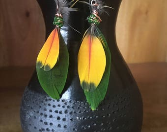 Wild World Earrings. Copper. Beads. Green and Yellow Feather Earrings.