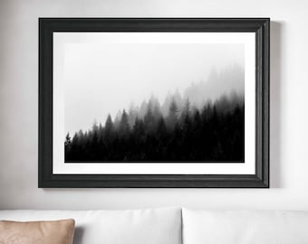 Fog and Trees - digital download - black and white