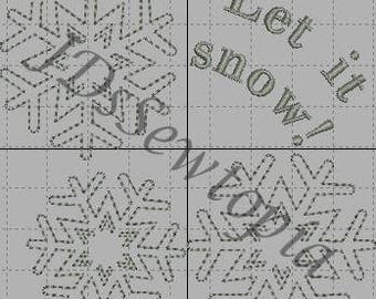 Winter/Snow Machine Embroidery Design 4x4 in 17 Formats
