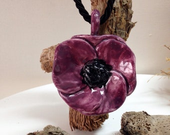 Ceramic purple poppy pendant, gift for mom, Valentine gift, gift for yourself, birthday gift, anniversary gift