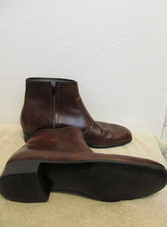9 Ankle PLEATHER Vintage By Zip Colored Boots ROCKER Brown HABAND Men's 5 70's gqFwO