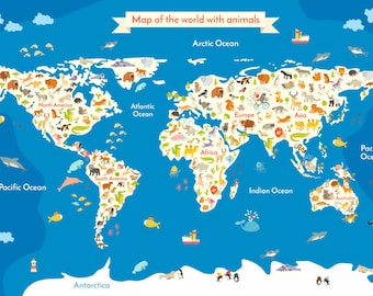Items similar to animals world map digital vector file clip art animals world map digital vector file clip art wall decor background vector illustration drawn animals world map vector illustration gumiabroncs Image collections