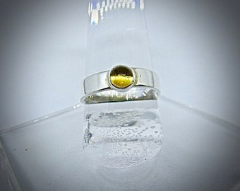 Sterling silver ring with citrine cabochon