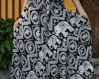 Bohemian Maxi Skirt Boho Long Skirt Gypsy Style Black Elephant Maxi Skirt Women Boho Clothing Bohemian Clothing