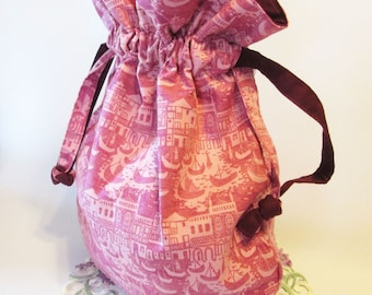 Pink Drawstring Bag - Everyday Bag - Drawstring Dance Bag - Diaper Bag - Gift for Women - Travel Bag - Project Bag