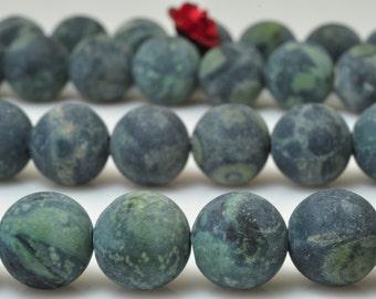 47 pcs of Natural Dark green Birds Eye Rhyolite matte round beads in 8mm (05299#)