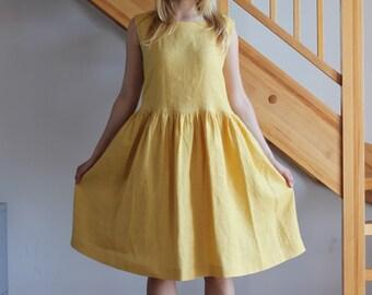 Linen dress Yellow linen dress White linen dress Sky blue linen dress Peach linen dress Oversize dress Round neckline dress Beige dress