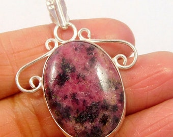 Awesome Designer Natural Pink Rhodonite Gemstone .925 Silver Plated Pendant Jewellery ! JC4726