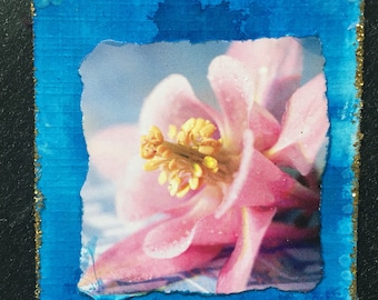 Artist Trading Card-ATC-Columbine with Glitter