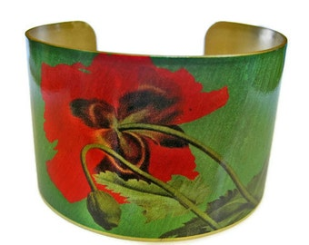 Underside of Poppy cuff bracelet brass Gifts for her