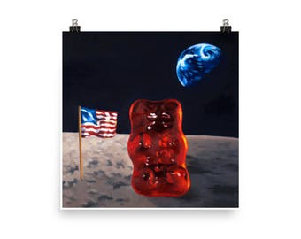 Space Gummy - Art Print from original painting, nostalgia, humor, playful, funny, kitsch, space, moon, planets, candy, fun, astronaut