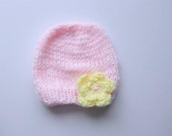 Newborn knit hat, newborn baby girl hat with flower, newborn baby hat, baby girl hat, flower hat, photo prop hat, baby photography, baby hat