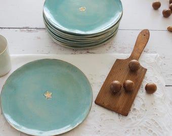 Cake plate, Turquoise & gold ceramic plates, dessert modern plate, Small ceramic serving dish, ceramic dinnerware, Wedding and Birthday gift