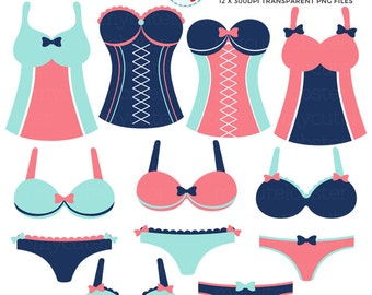 Lingerie Clipart Set - bras, knickers, clip art, corsets, mint and coral lingerie - personal use, small commercial use, instant download