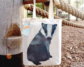 Badger Tote Bag, Reusable Shopper Bag, Cotton Tote, Ethically Produced Shopping Bag, Eco Tote Bag, Stocking Filler, Badger Gift