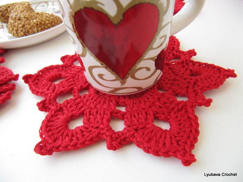 Crochet PATTERN Red Flower Coaster Pattern Crochet Home