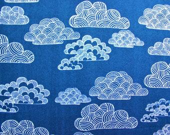 Cloud 9 Fabrics / Eloise Renouf / First Light Nimbus / Navy Blue White / Organic Cotton / Quilting Sewing Dressmaking Material / Half Metre