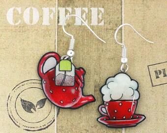 """Earrings """"tea time"""" teapot and Teacup red peas"""
