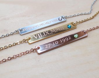 Birthstone Necklace Bar Necklace Name necklace Rose Gold necklace Silver Necklace Graduation Gift for her  Birthday Gift for Women