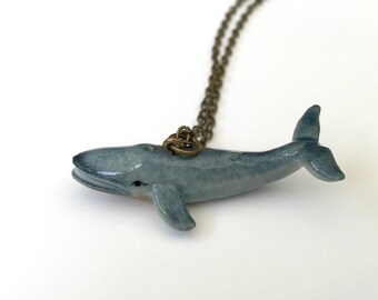 LAST ONE! Blue whale necklace, long necklace, statement, ceramic, porcelain, whale, nautical, sea, ocean, moby dick, pirate, bronze