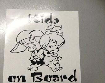 KIDS ON BOARD flinstone sticker vinyl car