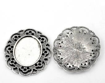 Pendant for cameo or dome in antique silver (x 1)