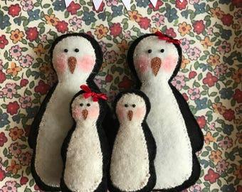 Handmade Felt Penguin Family Box Frame - Monty - Custom Made