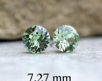 Chrysolite Studs, 7.27mm Studs,  Swarovski Earrings, Xirius Studs, Green Crystal Earrings, Crystal Stud Earrings, Green Crystal Studs