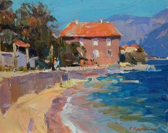 Bright, Sunny, Sea, Landscape, Oil original picture, Mediterranean breeze