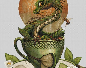 Tea Dragon  - emailed PDF cross-stitch chart / pattern, original art © Stanley Morrison  licenced by Paine Free Crafts