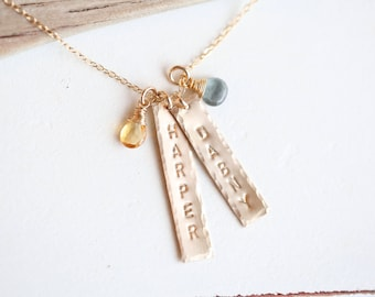 Personalized Necklace, Gold Mothers Birthstone Necklace, Name Necklace, Name with birthstones, Vertical Bar Necklace, Nana Necklace, new mom